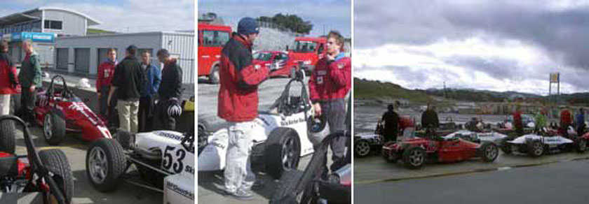 Getting feedback from the instructors at the Laguna Seca Raceway