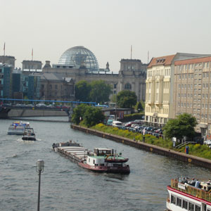 View of the Spree River with the Reichstag's dome in the background