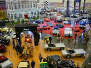 Elaborately furnished exhibits at Techno Classica in Essen, Germany