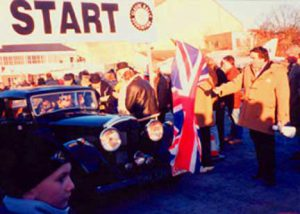 Start of the Winter Challenge in Brooklands, England with Philip Young in the background